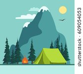 camping adventure  summer... | Shutterstock .eps vector #609054053
