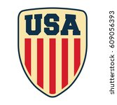 usa shield isolated on white... | Shutterstock .eps vector #609056393
