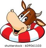 cute cow swim    vector cartoon ... | Shutterstock .eps vector #609061103