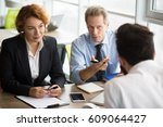 happy hr specialists of company ... | Shutterstock . vector #609064427