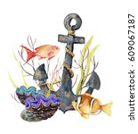 Watercolor Tropic Sea Card....
