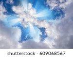 light or sun rays bursting from ... | Shutterstock . vector #609068567