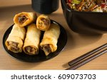 chinese food  spring rolls and... | Shutterstock . vector #609073703