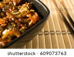 chinese food  spring rolls and... | Shutterstock . vector #609073763