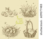 vector set with linear sketches.... | Shutterstock .eps vector #609077483