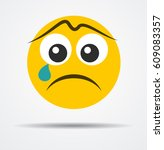 crying emoji in a flat design | Shutterstock .eps vector #609083357