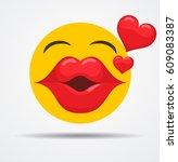 kissing emoji in a flat design | Shutterstock .eps vector #609083387