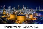 aerial view oil refinery ... | Shutterstock . vector #609092363