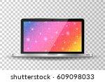 realistic modern laptop... | Shutterstock .eps vector #609098033
