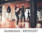 attractive sports girl in... | Shutterstock . vector #609101357
