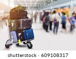 luggage in the airport | Shutterstock . vector #609108317