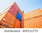 containers box from cargo... | Shutterstock . vector #609111773