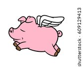 cartoon flying pig vector... | Shutterstock .eps vector #609129413