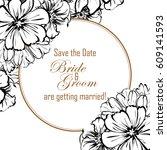 romantic invitation. wedding ... | Shutterstock .eps vector #609141593