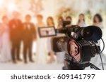 blurred video camera operator... | Shutterstock . vector #609141797