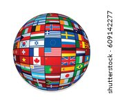 flags on world globe. | Shutterstock . vector #609142277