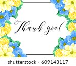 invitation with floral... | Shutterstock . vector #609143117