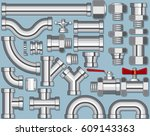 stainless steel pipe production....   Shutterstock . vector #609143363