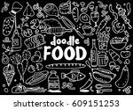 food and drink  doodles... | Shutterstock .eps vector #609151253