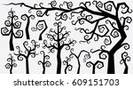 decorative curly style trees...   Shutterstock . vector #609151703