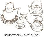 japanese tea set. hand drawn... | Shutterstock .eps vector #609152723