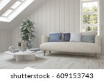 white room with sofa and green... | Shutterstock . vector #609153743