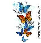flying  bright  blue butterfly... | Shutterstock . vector #609157097