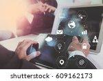 co working team meeting concept ... | Shutterstock . vector #609162173
