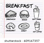 breakfast  sketch | Shutterstock .eps vector #609167357