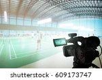 video camera taking video at... | Shutterstock . vector #609173747