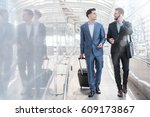 two westerner business men talk ... | Shutterstock . vector #609173867