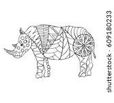 stylized hand drawn rhinoceros. ... | Shutterstock .eps vector #609180233