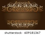 decorative frame with vintage... | Shutterstock . vector #609181367