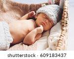newborn infant baby boy... | Shutterstock . vector #609183437