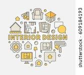 interior design colorful... | Shutterstock .eps vector #609184193