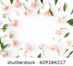 flat lay frame with... | Shutterstock . vector #609184217