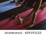 women practicing yoga and... | Shutterstock . vector #609193133