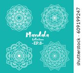 set of mandala decorative and... | Shutterstock .eps vector #609199247