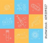 immunology research icons set.... | Shutterstock .eps vector #609209327