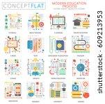 infographics mini concept e... | Shutterstock .eps vector #609213953