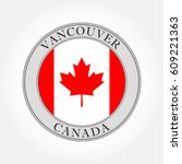 canadian flag round icon.... | Shutterstock .eps vector #609221363