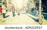 crowd of people walking on... | Shutterstock . vector #609223937