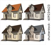 set of four cottages on white... | Shutterstock .eps vector #609234623