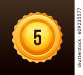 golden medal with numbers.... | Shutterstock .eps vector #609235577