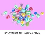 easter abstraction on a pink... | Shutterstock . vector #609237827