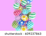 easter abstraction on a pink... | Shutterstock . vector #609237863