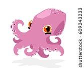 cute funny octopus   Shutterstock .eps vector #609243233