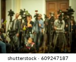 press conference. woman public... | Shutterstock . vector #609247187