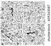 hand drawn food elements. set...   Shutterstock .eps vector #609263087