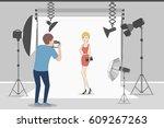 female model in photo studio.... | Shutterstock . vector #609267263